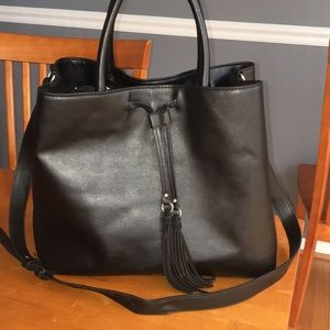 French connection black Alana tassel tote